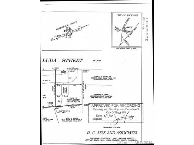 Land for Sale, ListingId:29081342, location: 1227 Saluda Street Rock Hill 29730
